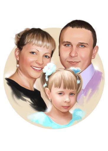 Семейный портрет по фото на холсте в Орле — правильный подарок!